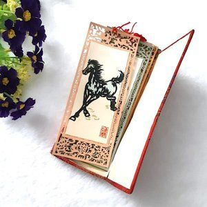 VINTAGE Bookmarks 8 Galloping Horses Paper Cut Art